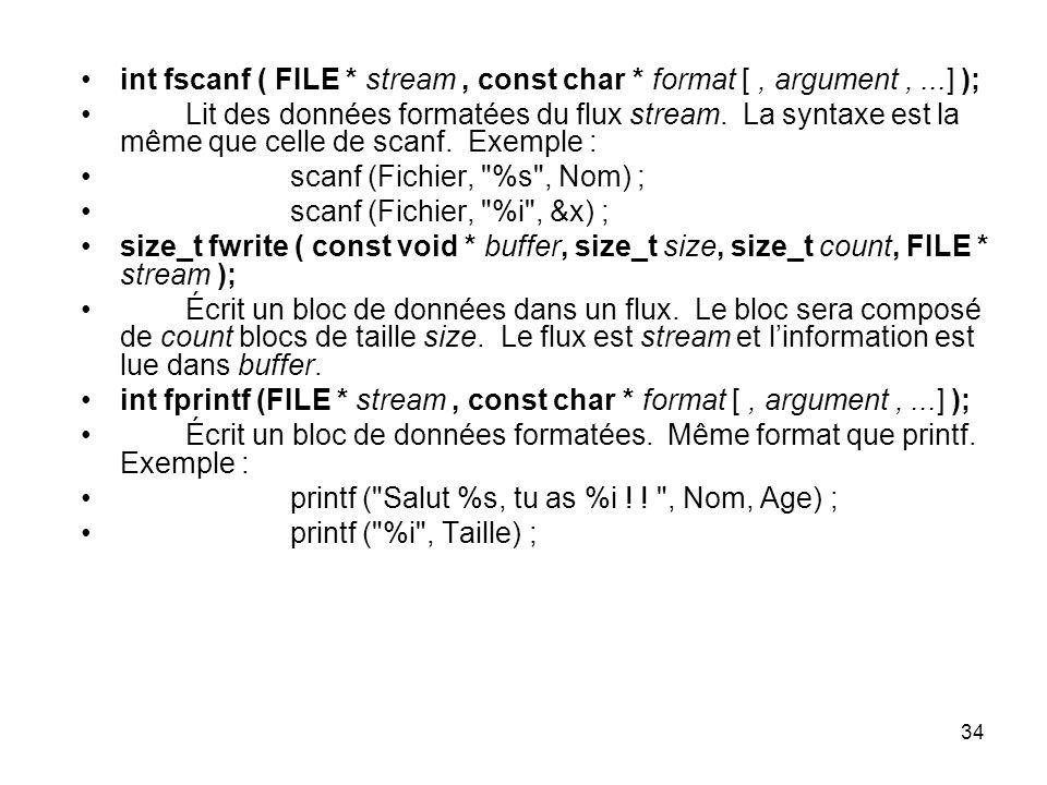 int fscanf ( FILE * stream , const char * format [ , argument , ...] );